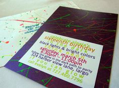 Glow in the dark paint was hand done on each invitation and envelope.