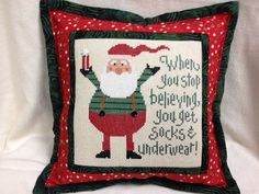Lizzie Kate  Christmas Cross Stitch Pillow  When by homecrafting, $18.00