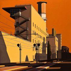 Mauro Reggio (Italian, b. Via Giolitti, Oil on canvas, 150 x 150 cm. Urban Landscape, Landscape Art, Landscape Paintings, Urban Life, Urban Art, Charles Sheeler, Industrial Paintings, Ligne Claire, Graphic Wallpaper