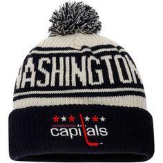 3437dc6f1f6 Men s Washington Capitals Fanatics Branded White True Classic Z Route  Cuffed Knit Hat with Pom Washington