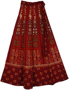 Earthy Wrap Around Skirt in Red Stiletto Modest Fashion, Boho Fashion, Fashion Outfits, Earthy Fashion, Earthy Outfits, Smocked Baby Clothes, Navratri Dress, Red Stilettos, Peasant Skirt