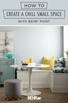 Whether you live in an apartment or a house, finding ways to maximize your space is always key! Check out this tutorial on how to create a chill small space to see how Behr paint can help. Light Drizzle, from the new BEHR® 2020 Color Trends Palette, and Polar Bear create a calming blue and white color scheme that fit beautifully into this kitchen breakfast nook. Click below to learn more.