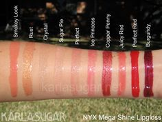 NYX Swatches by the ever makeup vigilant Karla Sugar!! Her site is AMAZING!!!
