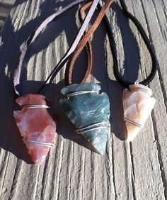 Agate Arrow Head Necklaces by LalasCreativeCorner on Etsy