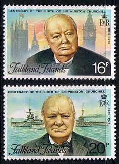 Falkland Islands 1974 Churchill Centenary Set Fine Mint SG 304 305 Scott 235 236 Other Falkland Island Stamps HERE
