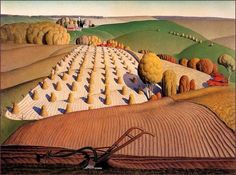 Haying Grant Wood (February 1891 – February was an American painter born four miles east of Anamosa, Iowa. He is best known for his paintings depicting the rural American Midwest, particularly the painting American Gothic, an iconic image of the century. Grant Wood Paintings, Paintings I Love, Farm Paintings, Modern Paintings, Landscape Art, Landscape Paintings, Landscape Sketch, Artist Grants, Bg Design