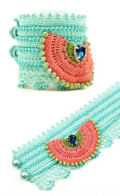 Handmade Crochet Beadwork Luxury Statement Bracelet