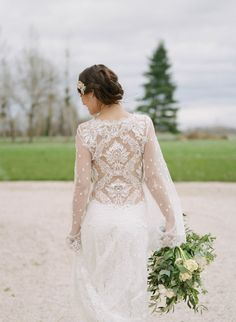 Detailed lace wedding dress