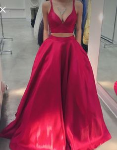 Elegant Two Piece Prom Dresses, Long Red Prom