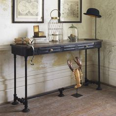 traditional living rooms metal console table