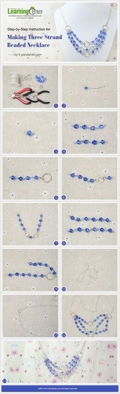 Step-by-Step Instruction for Making Three Strand Beaded Necklace by wanting