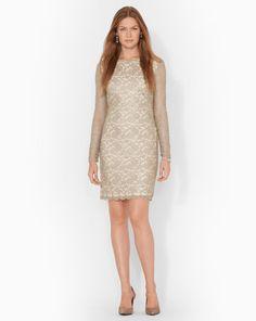a666ca9a9d6 Scalloped Metallic Lace Dress - Lauren Sale - RalphLauren.com
