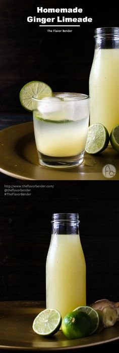 Homemade Ginger Limeade - a delicious, sweet, tart, drink with the warmth & spicy flavour of ginger. Easy to make, and make it your own with water, or soda or even alcohol!