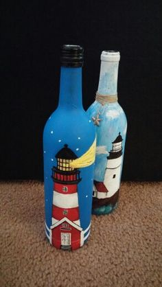 Lighthouse wine bottle paintings