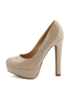 Charlotte Russe - Thick-Heeled Patent Pump in Natural on sale now for $20! @charlotterusse