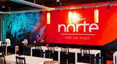 Konzept und Kreation von Wandgestaltung, Logo, Symbolik und Beschriftung für das Restaurant Norte.