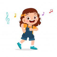 Happy cute kid girl dance with music Pre... | Premium Vector #Freepik #vector #music #people #children #woman School Cartoon, Cartoon Kids, Cute Cartoon, Kids Vector, Baby Drawing, Cartoon Background, Boy Poses, Girl Dancing, Happy Kids
