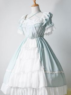 Lolita Wedding Dress OP One Piece Colorful Fairytale Lace Bow Ruffled Cross Front Lolita Dress Pretty Outfits, Pretty Dresses, Stylish Outfits, Beautiful Outfits, Beautiful Clothes, Op One Piece, Lolita Mode, Kawaii Dress, Lace Bows