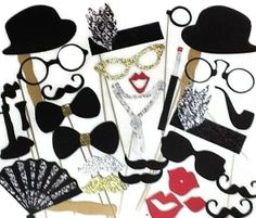 Photobooth props, Great Gatsby Props - Roaring Twenties Photo Booth Prop Set - 28 piece set - Glitter Props on Etsy, $34.00