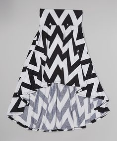 Look at this Black & White Chevron Print Hi-Low Skirt on #zulily today!