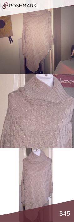 Steve Madden metallic-tan cable turtleneck poncho Worn once for an hour, so it's in pristine condition.  Pictures really do not capture how pretty it really is.  Looks amazing with medium-dark flares.  OFFERS AND QUESTIONS always welcome!!:):):) Steve Madden Jackets & Coats