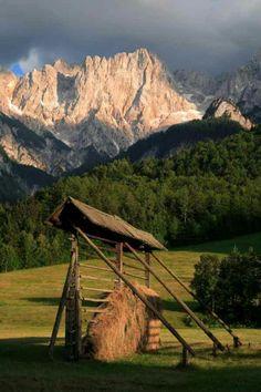 Slovenia hayrack (kozolec) Bled Slovenia, Slovenia Travel, Bratislava, The Beautiful Country, Beautiful Places, Places To Travel, Places To See, Places Around The World, Around The Worlds