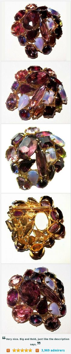 """Purple Rhinestone Brooch Pin Green Lavender Opaque Glass Stones Hiugh End Jewelry Gold Metal 2"""" Vintage https://www.etsy.com/listing/455166864/"""