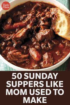 Sunday Dinner Recipes, Sunday Dinners, Dinner Ideas, Retro Recipes, Vintage Recipes, Crockpot Recipes, Cooking Recipes, Chicken Recipes, Dinner Dishes