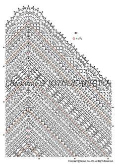 diagram to a lovely designed shawl for crochet Crochet Shawl Diagram, Crochet Shawl Free, Crochet Shawls And Wraps, Crochet Chart, Crochet Scarves, Crochet Motif, Crochet Clothes, Crochet Lace, One Skein Crochet