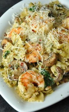 Creamy Shrimp and Veggie Pesto Pasta. Do you like shrimp? Do you LOVE butter? Do you love pesto? And do you ADORE cheese? Well then...your dream just came true:) YUM.