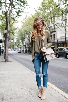 Khaki waffle long sleeved tee+distressed jeans+beige booties+nude Chloe Faye bag. Fall Outfit 2016