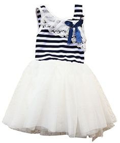 Little Girls Princess Cotton Stripe Bow Lace Sundress Party Dress Skirt   gt  gt  gt 87d87d875