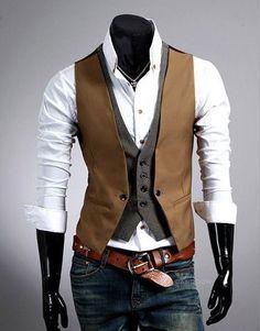 Men's Vests, V-necked Slim Fit Asian size M~XXL