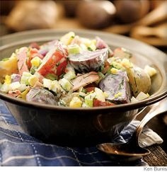Country Potato Salad - This updated picnic dish gets subtle flavor from smoked ham. Small, thin-skinned early potatoes are best in this salad.