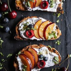 9 Ricotta Toast Recipes That Will Make You Forget All About Avocados Cherry & Plum Toast with Blueberry Whipped Ricotta Brunch Recipes, Appetizer Recipes, Plum Recipes, Appetizers, Breakfast Desayunos, Churros, Ricotta, Food Inspiration, Food To Make