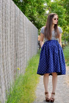 C: Nautical week: Very gathered A-line skirt with elastic and anchor print