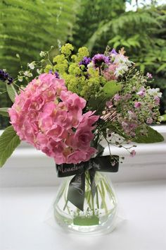 Pink hydrangea posy by www.meadowsweet.co.uk