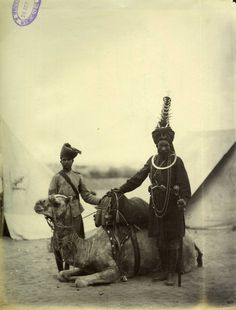 Chief-Priest of a Sikh Regiment under the British with his camel and squire on the Gordon Relief Expedition in Sudan Indiana, Man Of War, History Of India, Indian Army, Freedom Fighters, World War One, King Of Kings, Historical Pictures, Vintage Photographs