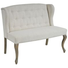 Inspired by French design, this elegant piece is designed with natural plain upholstery, tufted button accents on the backrest, silver colored studs along...
