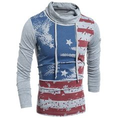 Western Style Drawstring Heaps Collar American Flag Print Hit Color... ($19) ❤ liked on Polyvore featuring men's fashion, men's clothing, men's shirts, men's t-shirts, mens longsleeve shirts, mens long sleeve collared shirts, mens collared shirt, mens slim shirts and mens cowboy shirts