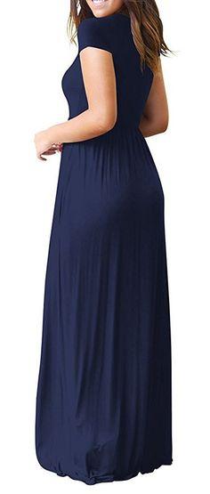 2330d763eae HIYIYEZI Womens Short Sleeve Pleated Loose Swing Casual Dress with Pockets  Floor Length M Navy Blue