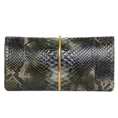 "NINA RICCI Grey/Green/Blue ""Arc"" Python Clutch rt $1,800 