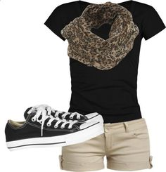 black tee, khaki shorts, leopard scarf, converse shoes... I wouldnt do a black tee or switch up the scarf for something bright!