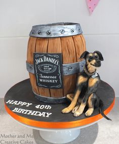 Whisky Barrel and Pet Dog by Mother and Me Creative Cakes