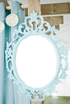 Aqua Blue Turquoise Tiffany Blue Vintage Style Mirror Oval Round Shabby Chic Hanging Wall Ornate Frame Choose Color. $90.00, via Etsy.