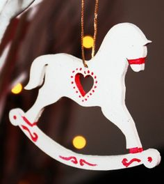 Cut Out Heart Christmas Rocking Horse Ornaments, 2013 Wooden Christmas Ornaments, Hand Painted Rocking Horse Ornaments For Christmas