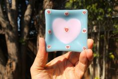 Handmade valentine baby blue & pink hearts by DeniseJulieJewelry