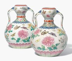A magnificent pair of famille rose 'butterfly' double-gourd vases. Qianlong six-character seal marks in underglaze blue Chinese Ornament, Chinese Ceramics, Gourds, Reign, Seal, Butterfly, Pottery, London, Street
