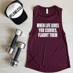 Workout Tank Top, When Lifes Gives You Curves Flaunt Them, CF Muscle Shirt, Womens Workout Clothes, Funny Running Shirts, Funny Workout Shirts, Running Tank Tops, Workout Tank Tops, Running Humor, Gym Humor, Muscle Shirts, Muscle Tanks, Womens Workout Outfits