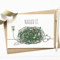 Funny Christmas Card Tangled Christmas Lights by DebbieDrawsFunny